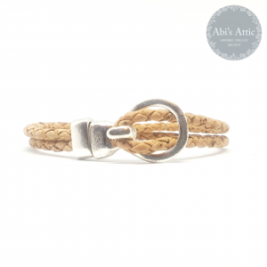 3mm natural braided Portuguese Cork Bracelet
