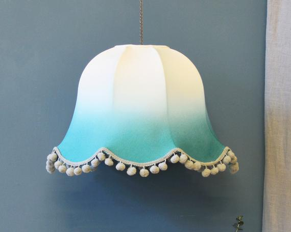 Emerald Blue Ombre Bell Shaped Handmade Ceiling Lampshade