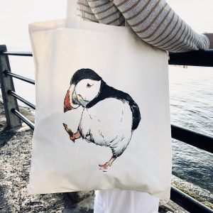 Whale Tail Art Natural Cotton Puffin tote bag